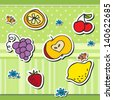 Cute scrap set with fruits and butterfly - stock vector