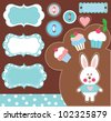 cute scrapbook collection. vector illustration - stock vector