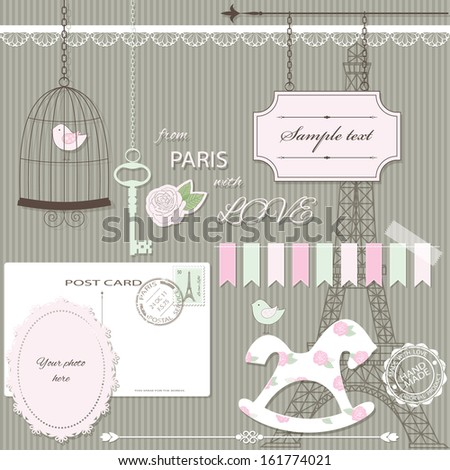 Cute scrapbook design elements set in pastel pink and green colors. - stock vector