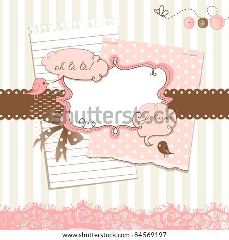 Cute scrapbook elements - stock vector