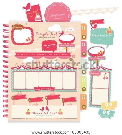 Cute scrapbook elements (9) - stock vector