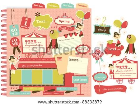 Cute scrapbook elements (11) - stock vector