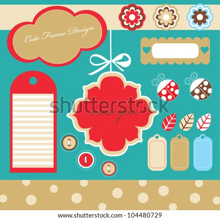 cute scrapbook elements collection. vector illustration