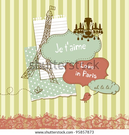 Cute scrapbook elements in French style - stock vector