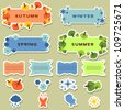 Cute scrapbook elements stickers four seasons - stock vector