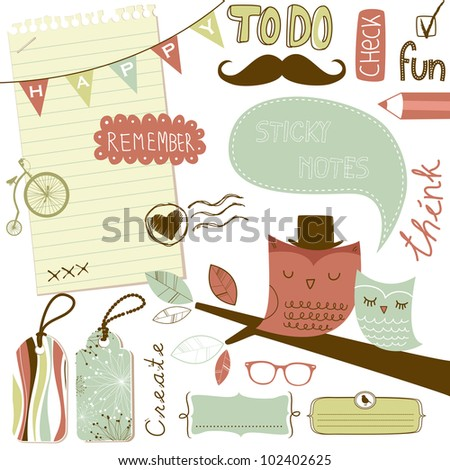 Cute scrapbook elements, sticky notes - stock vector