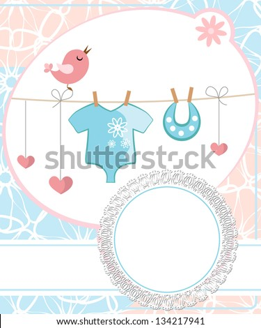 Cute scrapbook for boy with baby elements. - stock vector
