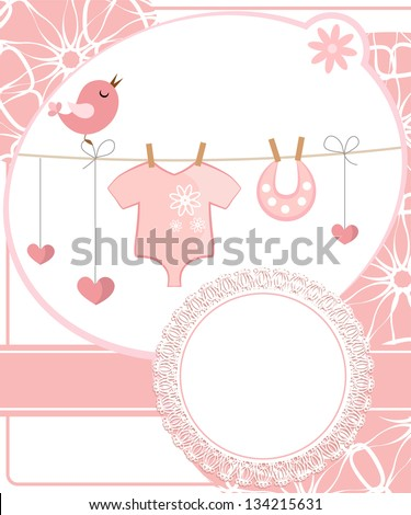 Cute scrapbook for girl with baby elements. - stock vector