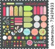 cute scrapbook graphic elements sticker set art to download - stock vector