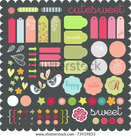 cute scrapbook graphic elements sticker set art to download