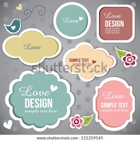 cute scrapbook set of elements - stock vector