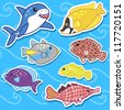 cute sea animal stickers - stock vector