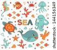 Cute sea creatures collection. Vector format - stock vector