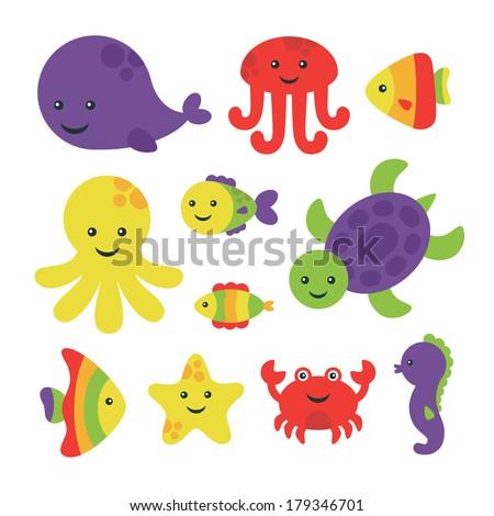 cute sea creatures set. vector illustration - stock vector