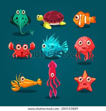 Cute sea life creatures cartoon animals set with fish octopus jellyfish isolated vector illustration - stock vector