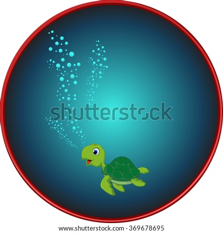 Cute sea turtle cartoon  - stock vector