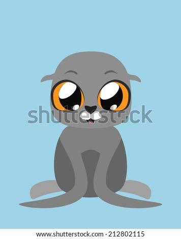 Cute Seal flat illustration art  - stock vector