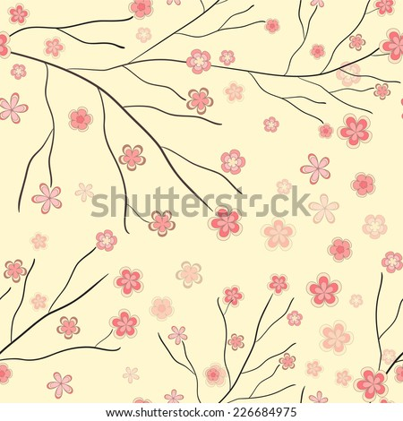 Cute seamless abstract background with blooming spring branch with falling pink geometric flowers - stock vector