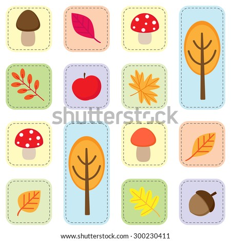 Cute seamless autumn pattern with nature elements. Vector icons of fall leaves, trees, mushroom, acorn and apple on white background - stock vector