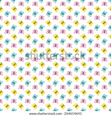 Cute, seamless background pattern with butterflies in yellow, white, pink and blue. For Spring and Easter, scrapbooking, baby, kids, Mother's Day, wedding. - stock vector