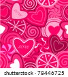 Cute Seamless Background / Pattern with hearts - stock vector