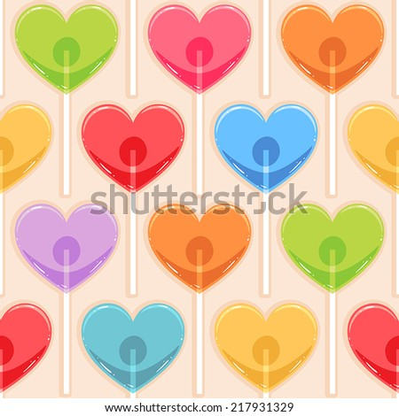 Cute seamless background with different color candy hearts - stock vector
