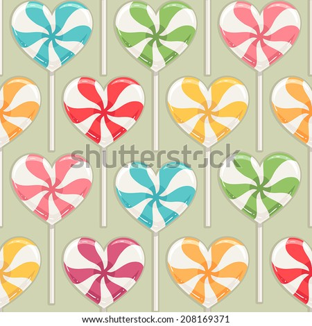 Cute seamless background with different color striped candy hearts. vector illustration - stock vector