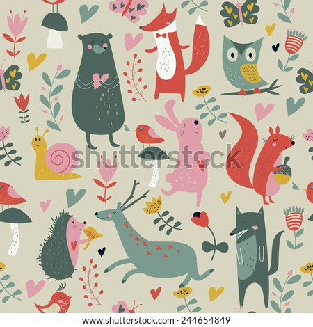 Cute seamless background with forest animals, birds and flowers in cartoon style - stock vector
