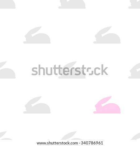 cute seamless background with grey and pink bunny - stock vector