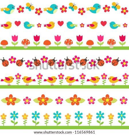 Cute seamless borders with birds and flowers - stock vector