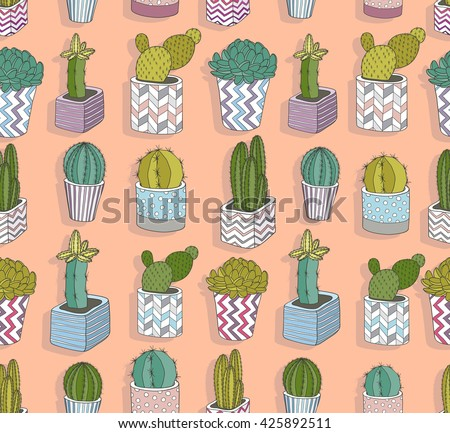 Cute seamless cactus pattern. Vector background with flowers. - stock vector