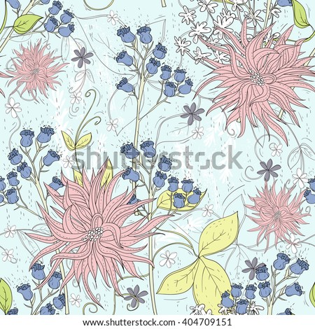 Cute seamless floral pattern. Background  with flowers. Vector illustration. - stock vector