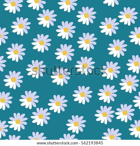 vector seamless pattern white daisy flowers stock vector