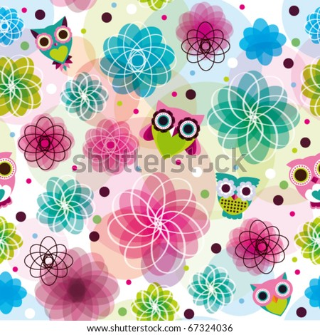 Cute seamless flower owl background pattern in vector - stock vector