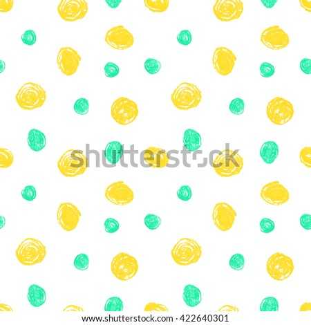 Cute seamless grunge childish pattern of the crayon yellow and blue stains on white background. Design element for background, textile, paper packaging, wrapping paper and other. Vector illustration. - stock vector