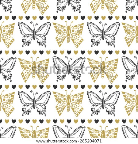 Cute seamless pattern of butterflies black and gold colors. Hand drawn vector background. Can be used for wrapping, packaging and wallpaper or textile design - stock vector