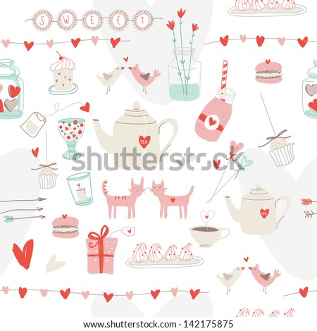Cute seamless pattern of love and sweets - stock vector