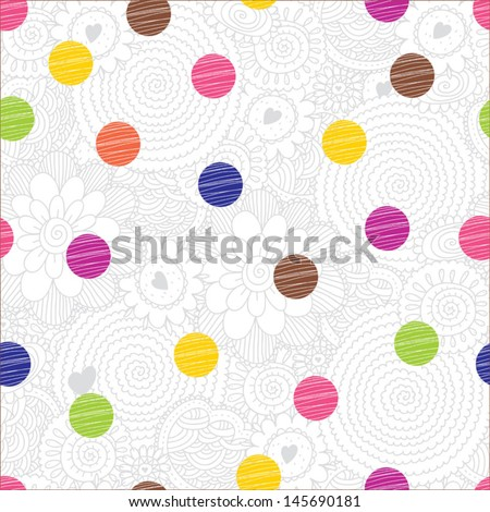 Cute seamless pattern, polka dot fabric, wallpaper, vector. - stock vector