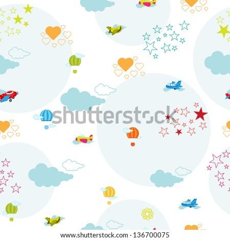 cute seamless pattern with aeroplane and air balloon - stock vector