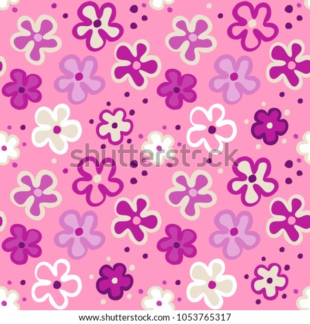 Cute Seamless Pattern With Cartoon Flowers On A Pink Background Vector Floral Texture