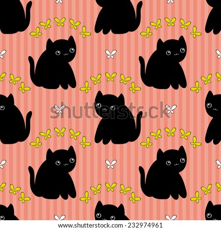 Cute seamless pattern with cat and butterfly. - stock vector