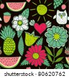 Cute seamless pattern with children's doodle, hand drawn summer background. Fruits and flowers endless texture. - stock vector