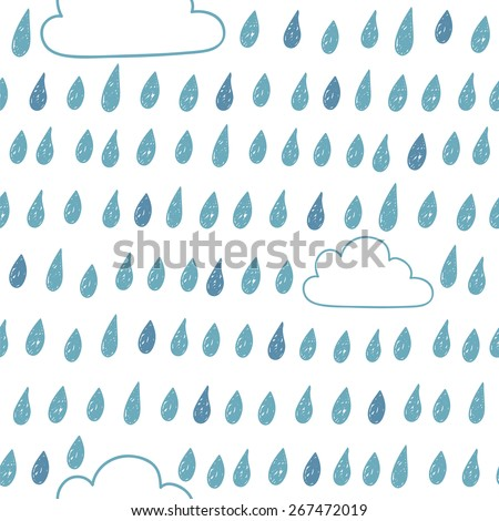 Cute seamless pattern with clouds and raindrops. Vector illustration - stock vector