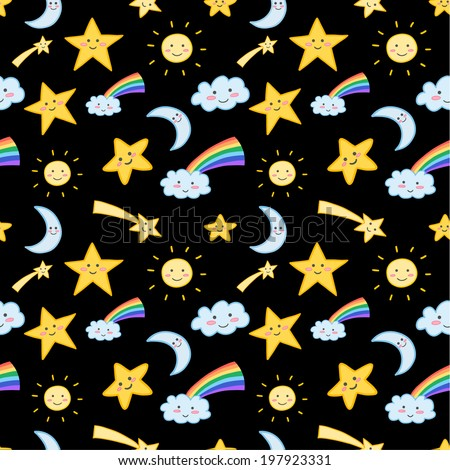 Cute seamless pattern with clouds, stars, suns and moons. Vector eps10. - stock vector