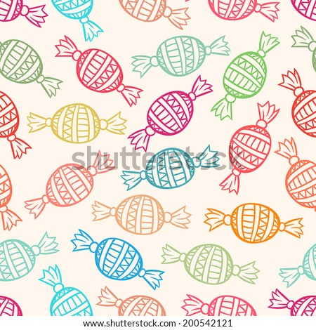 cute seamless pattern with colored candies. vector illustration