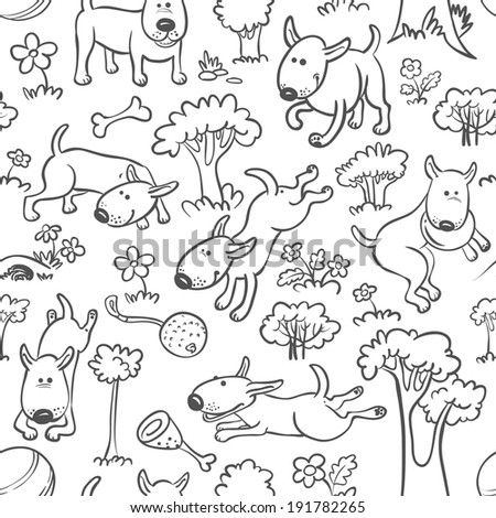 Cute seamless pattern with dogs - stock vector