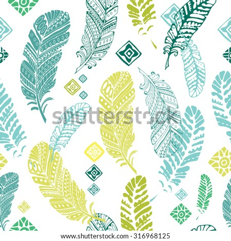 Cute seamless pattern with feathers. Seamless pattern for wallpaper, pattern fills, web page background, surface textures or fabric design - stock vector