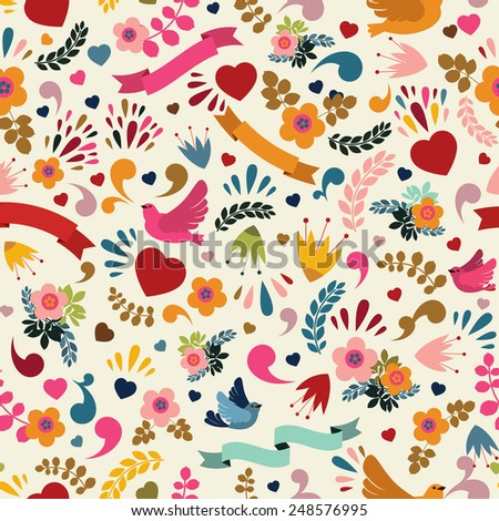 Cute seamless pattern with floral elements, birds and ribbons - stock vector
