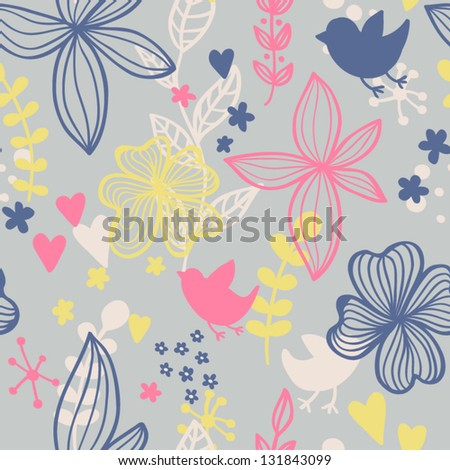 Cute seamless pattern with flowers and birds. Abstract floral background for your design. Romantic spring seamless pattern with birds and flowers. Vector illustration - stock vector