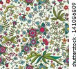Cute seamless pattern with flowers, stars and insects. Seamless texture can be used as a background for a web page, wallpaper, fabric, pattern fills. Beautiful background. - stock vector